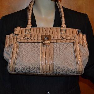 Guess Brown Logo Faux Crocodile Handbag Purse